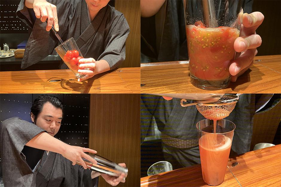 トマトを搾る